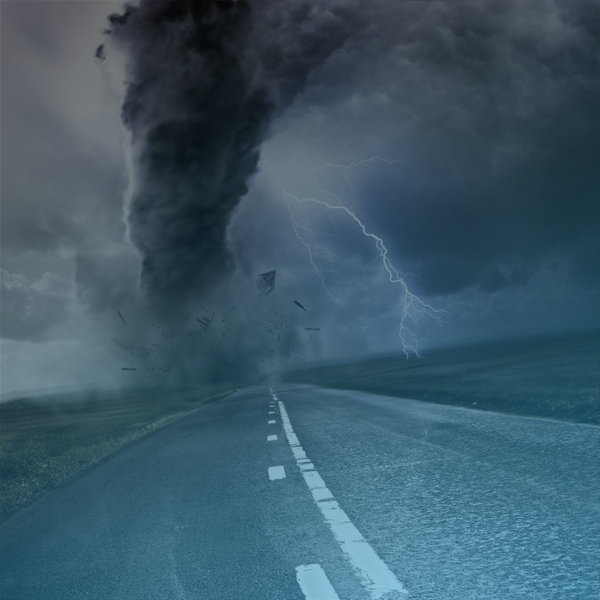Storm and tornado down the road